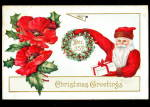 Santa Claus with Poppies & Wreath 1912 Postcard