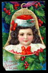 Embossed Girl In Bell With Holly 1910 Postcard