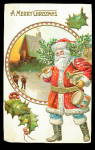 Santa Claus with Drum & Toys Postcard ca 1909