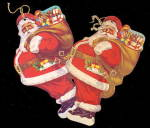 Click here to enlarge image and see more about item 000SAN23: 2 1950s Verona PA Santa Claus Paper Ornaments