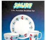 Click here to enlarge image and see more about item 000SMURF1: 1982 Smurf 3 Piece Breakfast Set in Box