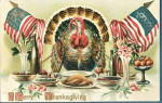 Click here to enlarge image and see more about item 000THG11: Lovely 1912 Thanksgiving Turkeys with Flags Postcard
