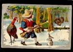 Click here to enlarge image and see more about item 000THG3: 1909 Thanksgiving Boy with Gun Advertising Postcard