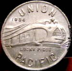 Click here to enlarge image and see more about item 000TOKEN2: 1933-1934 Union Pacific Railroad Good Luck Token
