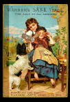 Click here to enlarge image and see more about item 000VTC1: Warner's Safe Yeast 1884 Girls w Dog Trade Card