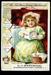 Click here to enlarge image and see more about item 000VTC248: 1885 Girl New Home Sewing Machine Trade Card
