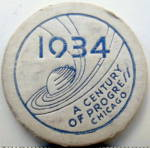 Click here to enlarge image and see more about item 000WFPCH9: 1934 Chicago World Fair Souvenir Cardboard Poker Chip