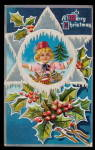 Click here to enlarge image and see more about item 000XMS01: Lovely 'Merry Christmas' Boy - Snowy Star 1910 Postcard