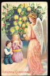 German Christmas Angel with Children 1908 Postcard
