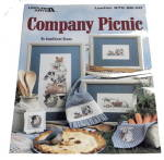Click here to enlarge image and see more about item 000XST13: 1990 Company Picnic Cross Stitch Leisure Arts 975