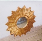 Click here to enlarge image and see more about item 168: Continental Carved and Gold painted Convex Mi