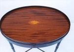 Click to view larger image of A Satinwood Shell inlayed Mahogany  Table. (Image1)