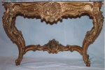 Click here to enlarge image and see more about item 1:  French Furniture marble top console table