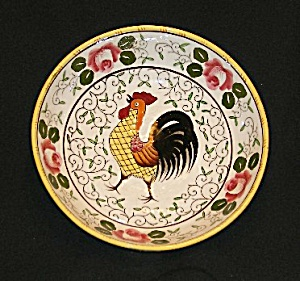 "Rooster And Roses 9"" Serving Bowl"