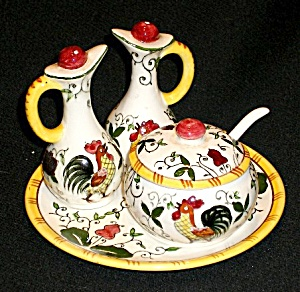 Rooster and Roses (Early Provincial) Condiment Set (Image1)