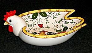 Rooster And Roses (Early Provincial) Rooster Dish