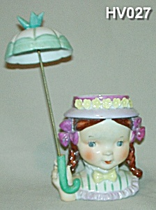 Little Umbrella Girl Head Vase (Image1)