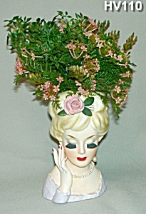 "INARCO 6"" Lady Head Vase w/Original Flowers (Image1)"