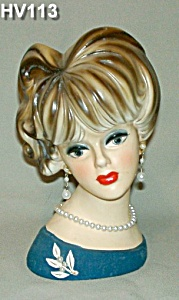 "8 1/2"" NAPCOWARE Young Lady Head Vase (Image1)"