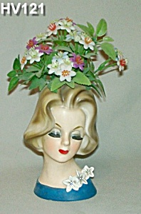 "6"" Young Lady Head Vase W/original Flowers"