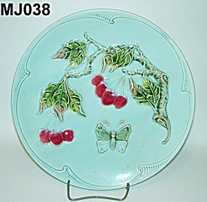 """11 1/4"""" Majolica Butterfly & Cherries Plate (Image1)"""