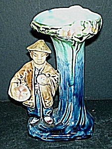 "6"" Majolica Oriental Man Vase (Image1)"