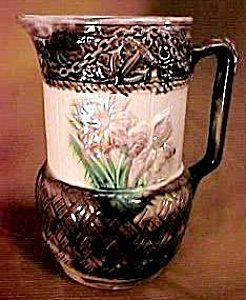 "8 1/2"" Majolica Floral Pitcher (Image1)"