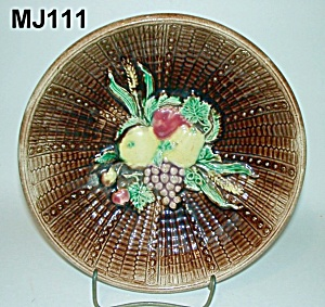 Majolica Fruit On Basketweave Bowl