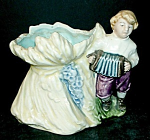 Majolica Boy Playing Accordion Vase