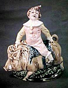 Majolica Clown Riding A Pig Candy Dish