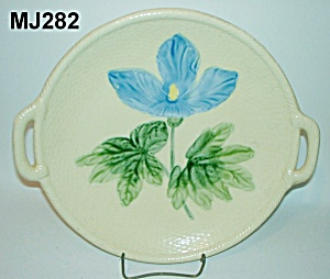 "13 1/4"" Majolica Iris On Basketweave Platter"
