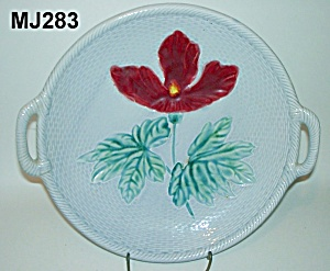 "Majolica ""iris On Basketweave"" Platter"