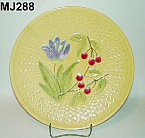 """11 1/4"""" Majolica Iris & Cherries Plate (Image1)"""