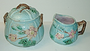 Majolica Sugar w/Lid and Creamer (Image1)