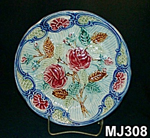 """Majolica """"Rose"""" Plate (Image1)"""