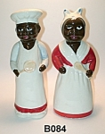 "Click here to enlarge image and see more about item B084: 8 1/2"" Black Chef and Mammy Salt & Pepper Shakers"