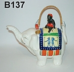 Click here to enlarge image and see more about item B137: Black Native on Elephant Teapot