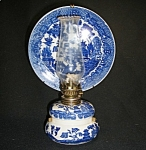 Click here to enlarge image and see more about item BW031: Blue Willow Ceramic Kerosene Wall Lamp w/Refector Plate