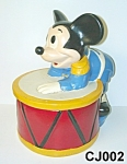 Click here to enlarge image and see more about item CJ002: Mickey on a Drum Cookie Jar