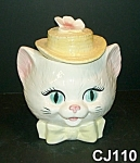 Click here to enlarge image and see more about item CJ110: Cat Cookie Jar