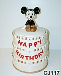 Click here to enlarge image and see more about item CJ117: Mickey Mouse 50th  Birthday Cake Cookie Jar