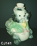 Click here to enlarge image and see more about item CJ141: Brush Squirrel with Top Hat Cookie Jar