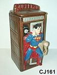 Click here to enlarge image and see more about item CJ161: Superman in Phone Booth Cookie Jar