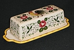 Click here to enlarge image and see more about item EPRR040: Rooster and Roses (Early Provincial) Butter Dish w/Lid