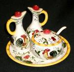 Click here to enlarge image and see more about item EPRR050: Rooster and Roses (Early Provincial) Condiment Set