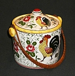 Click here to enlarge image and see more about item EPRR068: Rooster and Roses Ice Bucket/Cookie Jar