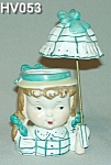 Click here to enlarge image and see more about item HV053: Little Umbrella Girl Head Vase - Very Rare!