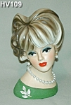 "Click to view larger image of 8 1/2"" Young Lady Head Vase (Image1)"