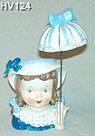 Click here to enlarge image and see more about item HV124: Little Umbrella Girl Head Vase