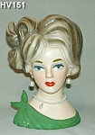 """Click here to enlarge image and see more about item HV151: NAPCOWARE 8"""" Young Lady Head Vase"""
